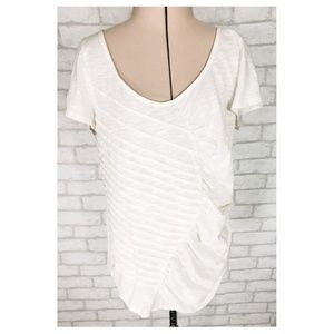 Deletta for Anthro White Textured Ruched Shirt LG